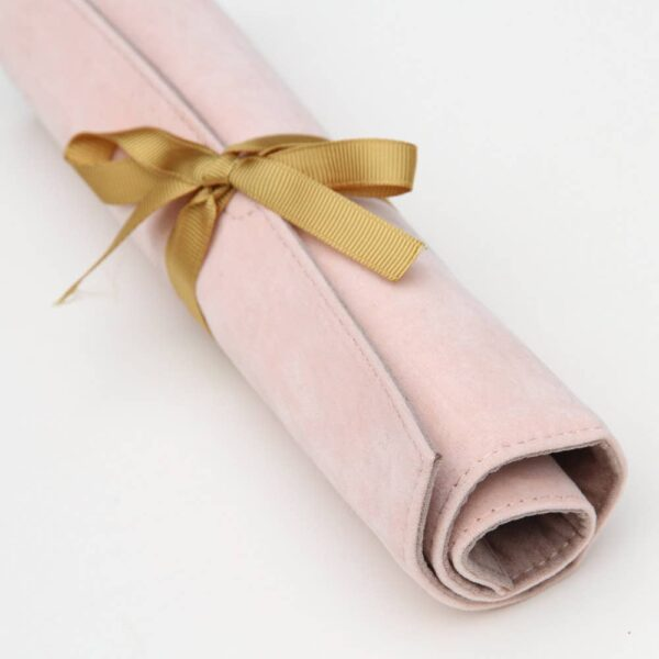Blush Velvet Jewelery Roll Closeup