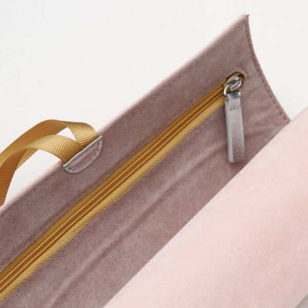 Blush Velvet Jewelery Roll Zipper