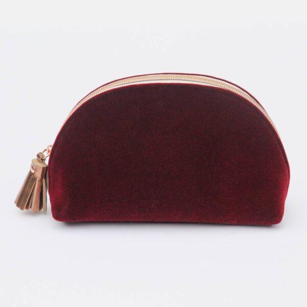 Burgundy Velvet Halfmoon Cosmetic Bag