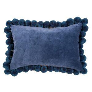Classic Blue Pom Pom Velvet Lumbar Pillow