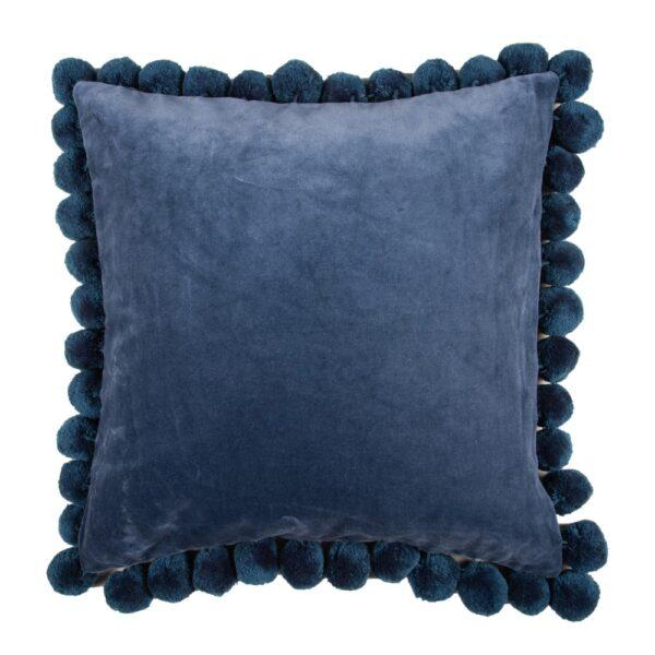 Classic Blue Pom Pom Velvet Pillow