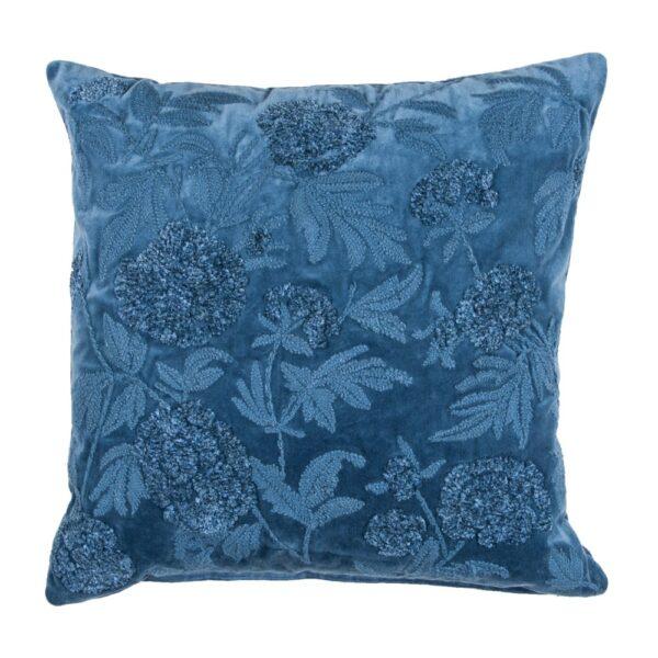 Embroidered Blue Cotton Velvet Pillow