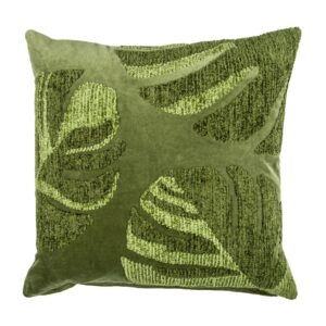 Embroidered Green Cotton Velvet Pillow