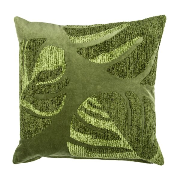 Embroidered Green Cotton Velvet Pillow