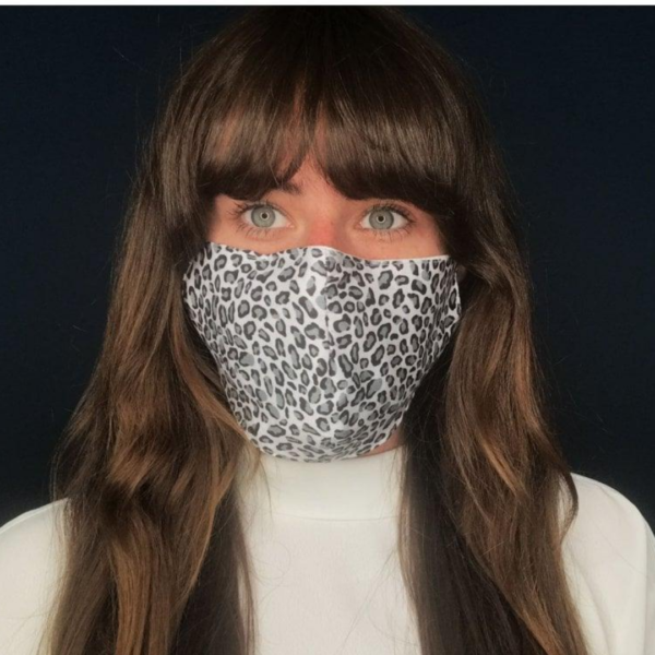 Gray Leopard Face Covering on model