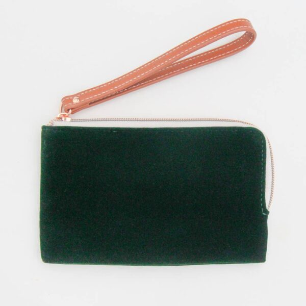 Green Velvet Essential Wristlet Purse