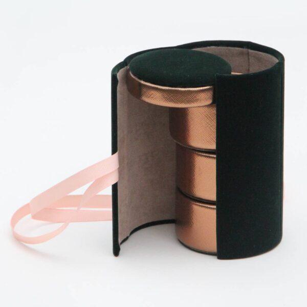 Green Velvet Jewelery Box Roll Open 1