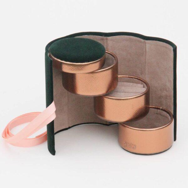 Green Velvet Jewelery Box Roll Open