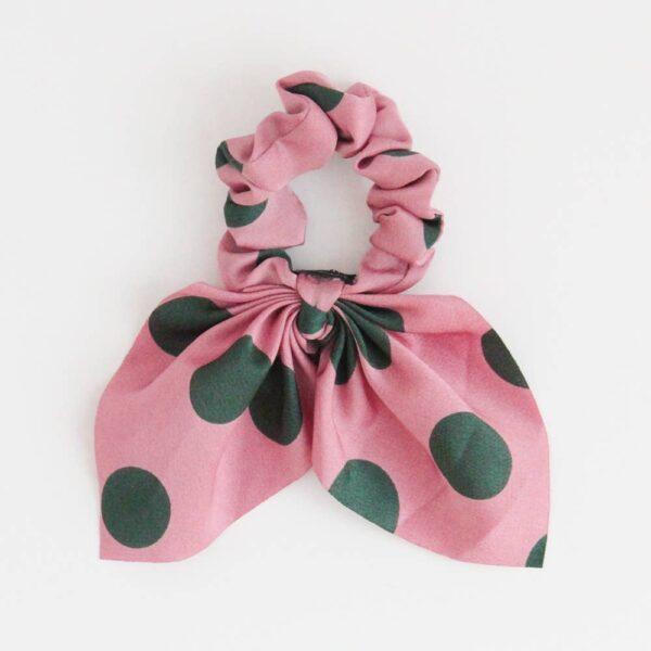 Pink Spot Bow Hair Tie