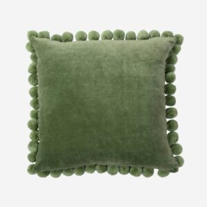 Pom Pom Green Velvet Pillow