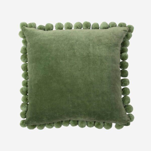 Pom Pom Green Velvet Pillow