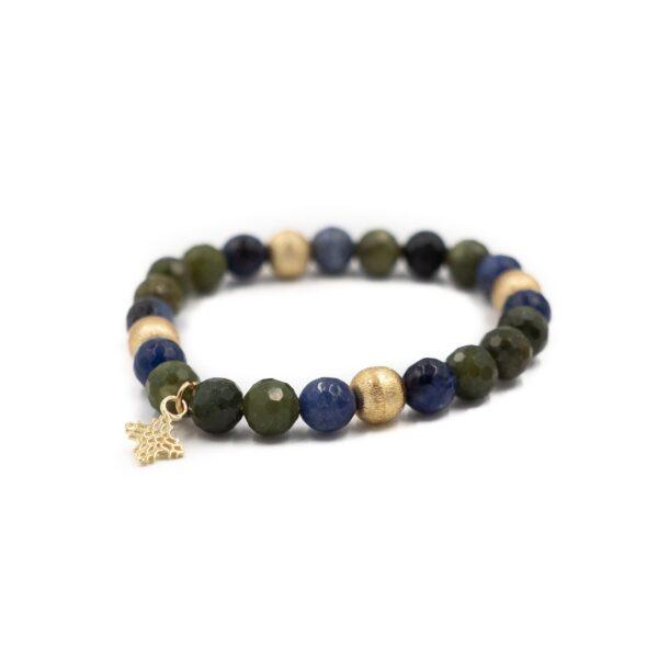 Green Jade and Sodalite Blossom Bracelet