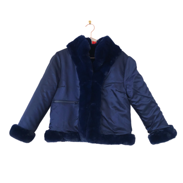Navy Faux Fur Bomber Jacket Reversed Front