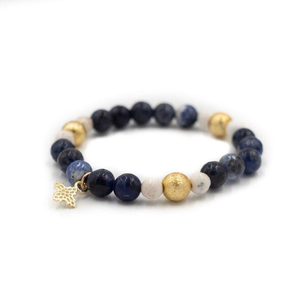 White Howlite and Sodalite Blossom Bracelet