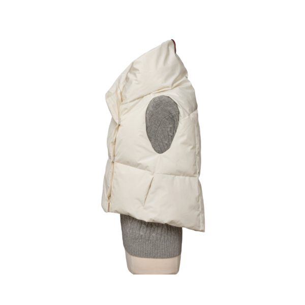 Winter White Waterproof Pretty Puffer Vest Side