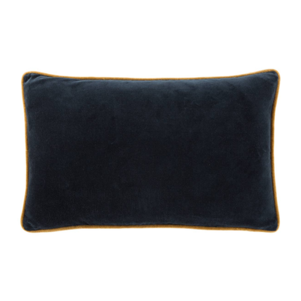 Blueberry and Harvest Gold Piped Velvet Lumbar Pillow