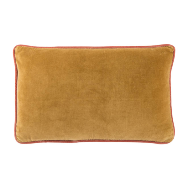 Harvest Gold and Autumn Leaf Piped Velvet Lumbar Pillow