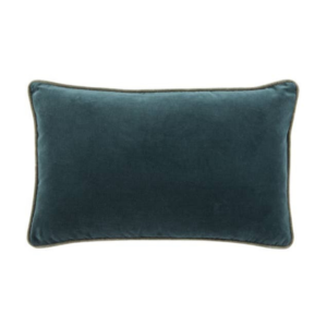 Ocean Blue and Slate Gray Piped Velvet Lumbar Pillow