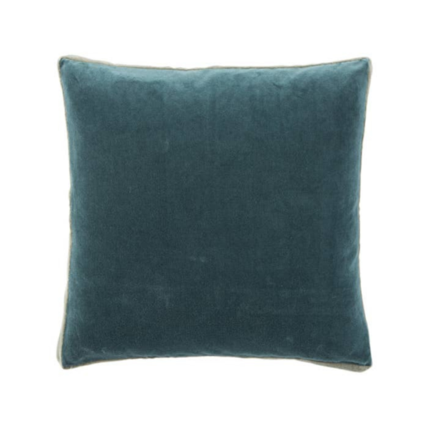 Ocean Blue and Slate Gray Velvet Boxed Pillow