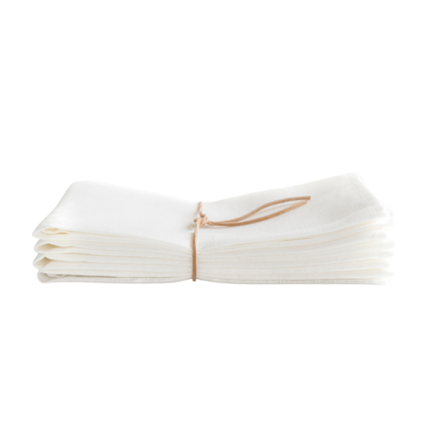 White Linen Heirloom Napkins Side