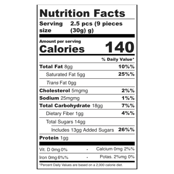 Candy Cane Caramels Nutrition Information
