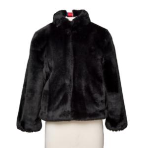 Black Faux Fur Reversible Bomber Jacket