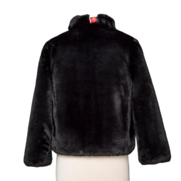 Black Faux Fur Reversible Bomber Jacket Back