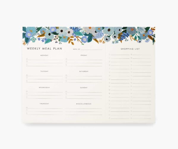 Rifle Paper Co Blue Floral Weekly Meal Planner