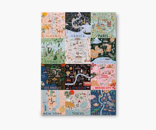 Rifle Paper Co Maps Puzzle Assembled
