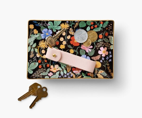 Rifle Paper Co Strawberry Fields Catchall Tray with keys and coin