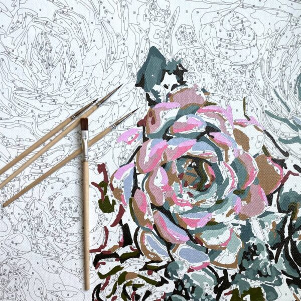 Sensitive Succulent Paint by Numbers Kit In Process