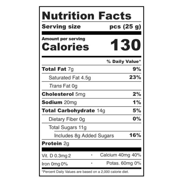 Sugarfina Rosé Chocolate Bar Nutrition