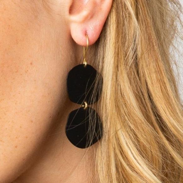 Black Brass Matte Earrings 1