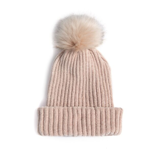 Blush Faux Fur Pom Hat