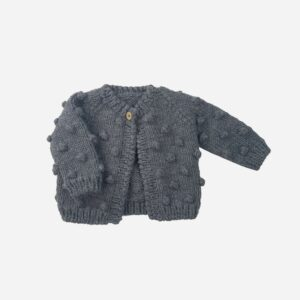 Dark Gray Popcorn Cardigan
