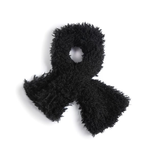 Fuzzy Black Pull Through Scarf