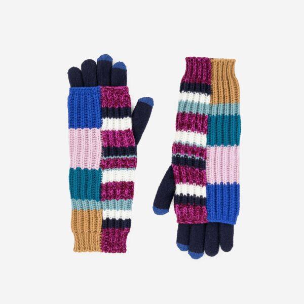 Magenta Patchwork 2-in-1 Armwarmer Gloves 1