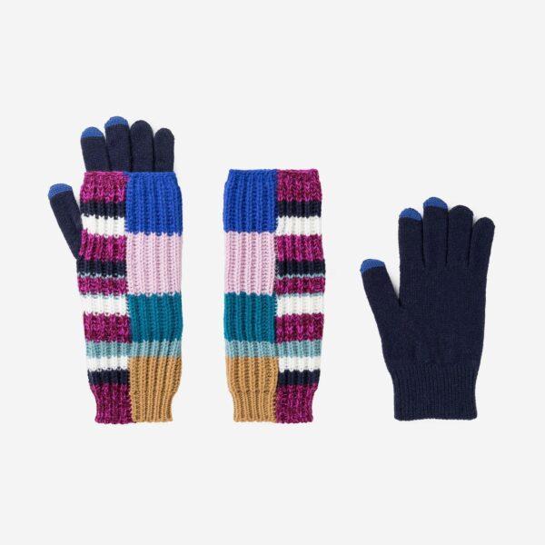 Magenta Patchwork 2-in-1 Armwarmer Gloves 2