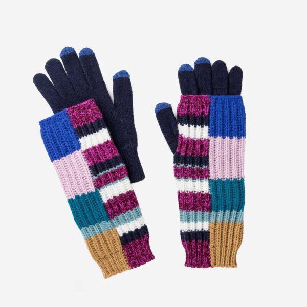 Magenta Patchwork 2-in-1 Armwarmer Gloves