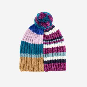 Magenta Patchwork Pom Hat