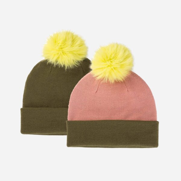 Moss Colorblock Hat with Fur Pom