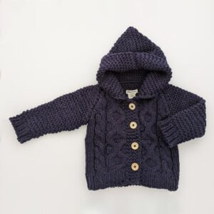 Navy Hooded Sweater Coat