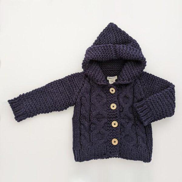 Navy Hooded Sweater Coat