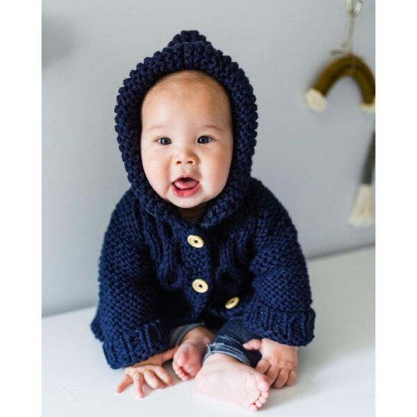 Navy Hooded Sweater Coat on Baby