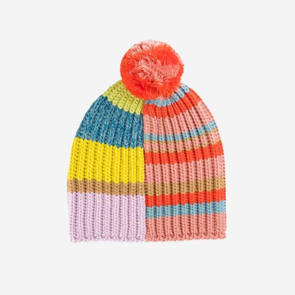 Pink Patchwork Pom Hat