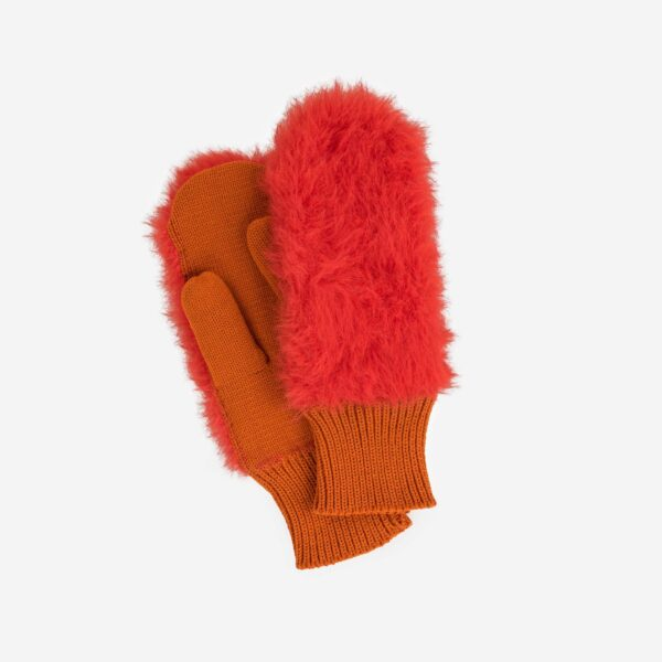 Poppy Colorblock Fur Mittens
