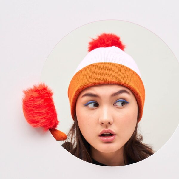 Poppy Colorblock Hat with Fur Pom 1