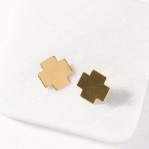 Small Cross Brass Earrings