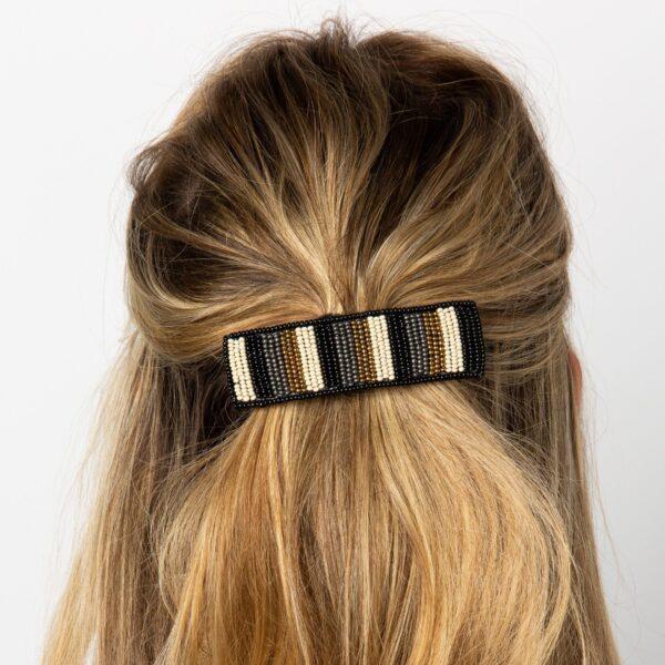 Stripe Barrette in hair