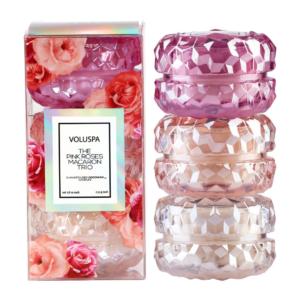 Roses Macaron Candle Set Trio